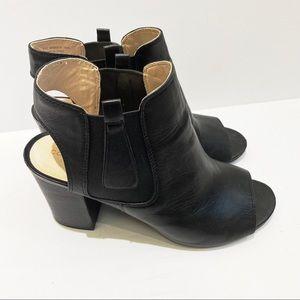 Cole Haan peep toe leather booties